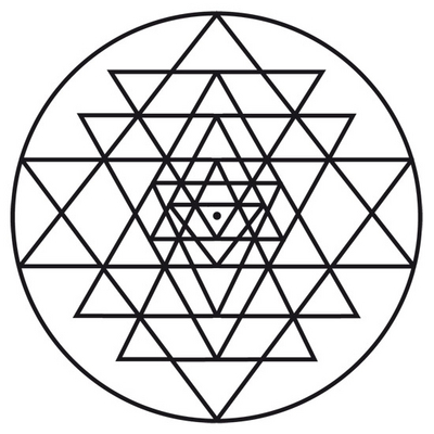 Sri Yantra on circle and square pattern